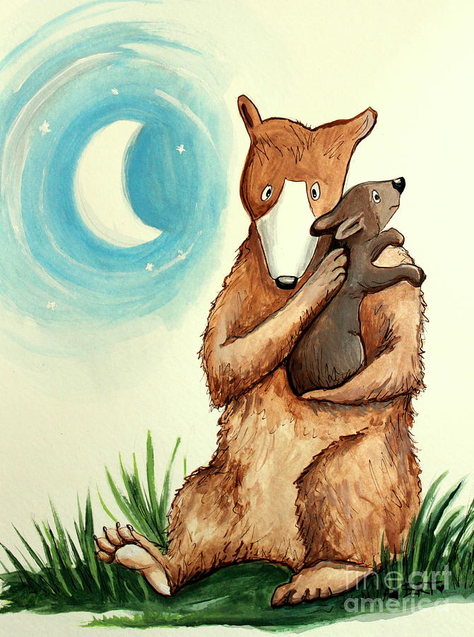Mother And Baby Bear Lullaby Painting By Elizabeth