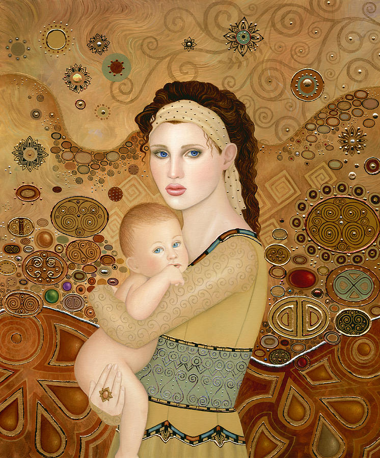 Art Nouveau Painting - Mother And Child by B K Lusk