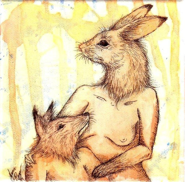 Rabbit Painting - Mother And Child by Jenn Page