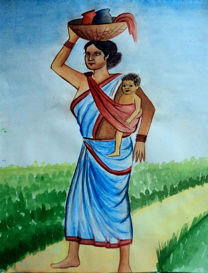 Mother And Child Painting by Tanmay Singh