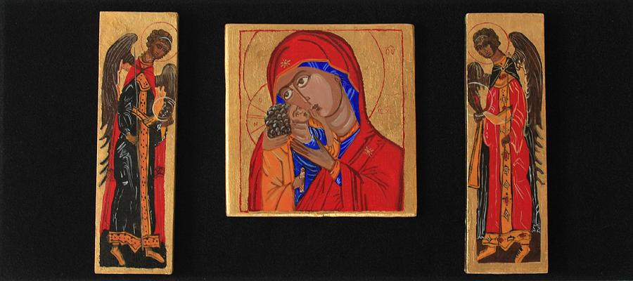 Icon Painting - Mother And Child With Archangels by Amy Reisland-Speer