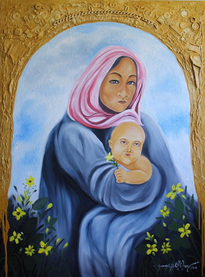 Mother And Child Painting - Mother And Child With Yellow Flowers by Johnny Otilano