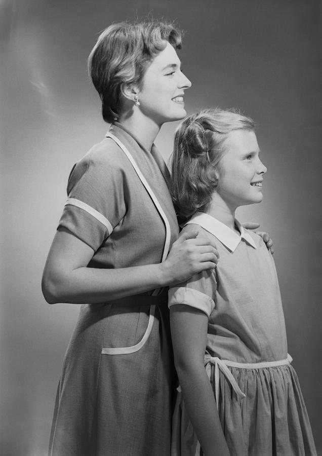 Child Photograph - Mother And Daughter (12-13), Profile by George Marks