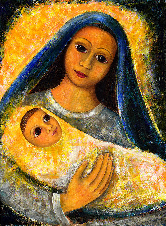 mother mary and jesus painting by taruna rettinger