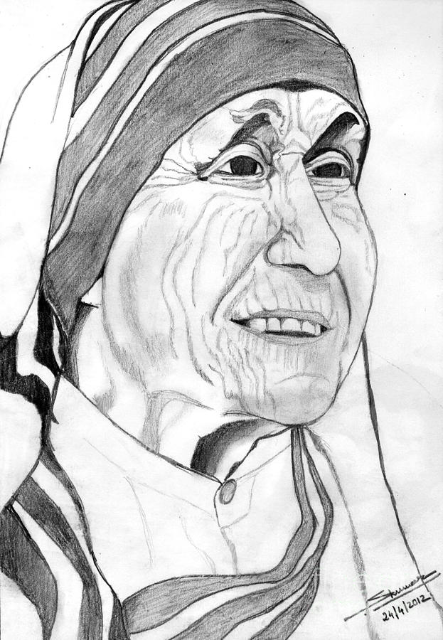 Portrait drawing mother of love by shashi kumar