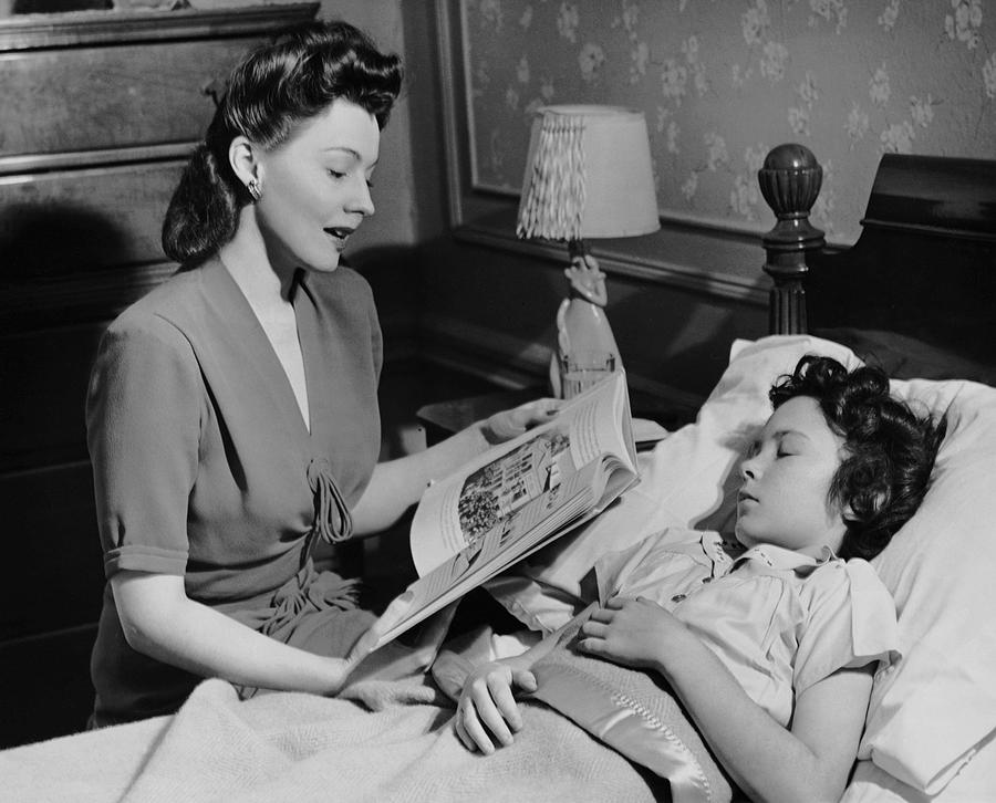 Child Photograph - Mother Reads Child A Bedtime Story by George Marks