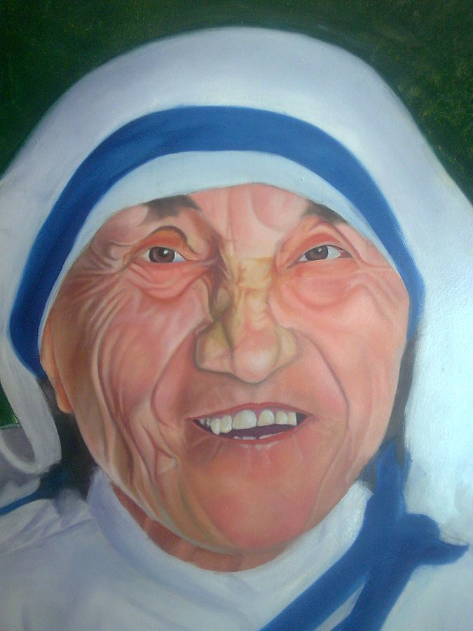 Mother Teresa Oil Painting Made By Ganesh Maurya Drawing by Ganesh Art Maurya
