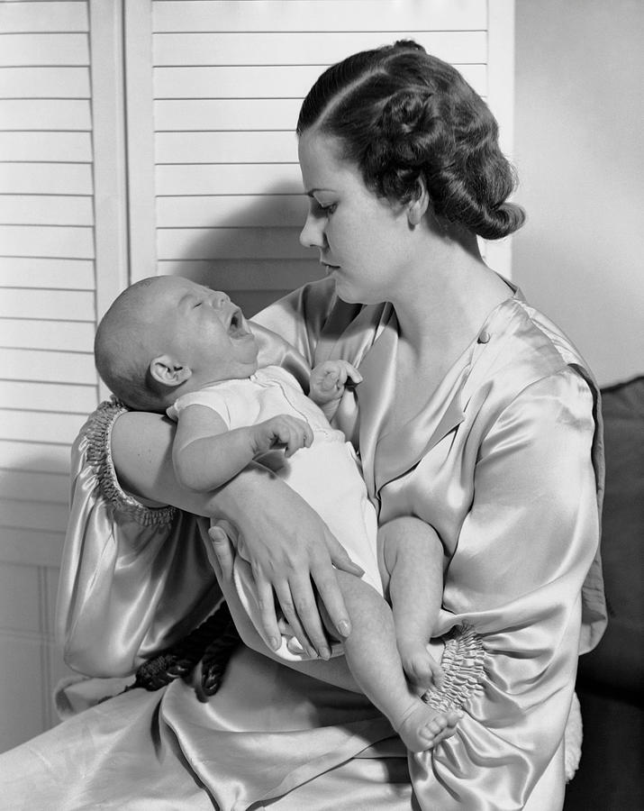 Newborn Photograph - Mother W/ Baby Yawning by George Marks