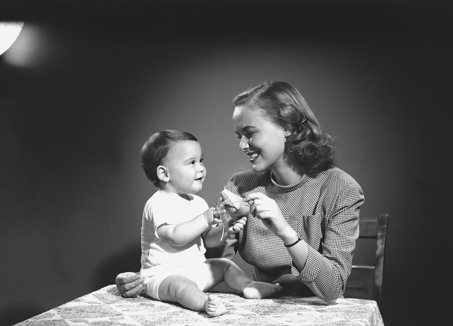 Baby Photograph - Mother With Baby (6-9 Months) Playing At Home, (b&w) by George Marks