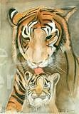 Tiger And Cub Painting - Mothers Love by Delores Swanson