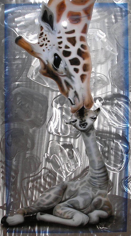 Giraffe Painting - Mothers Love by Mike Royal