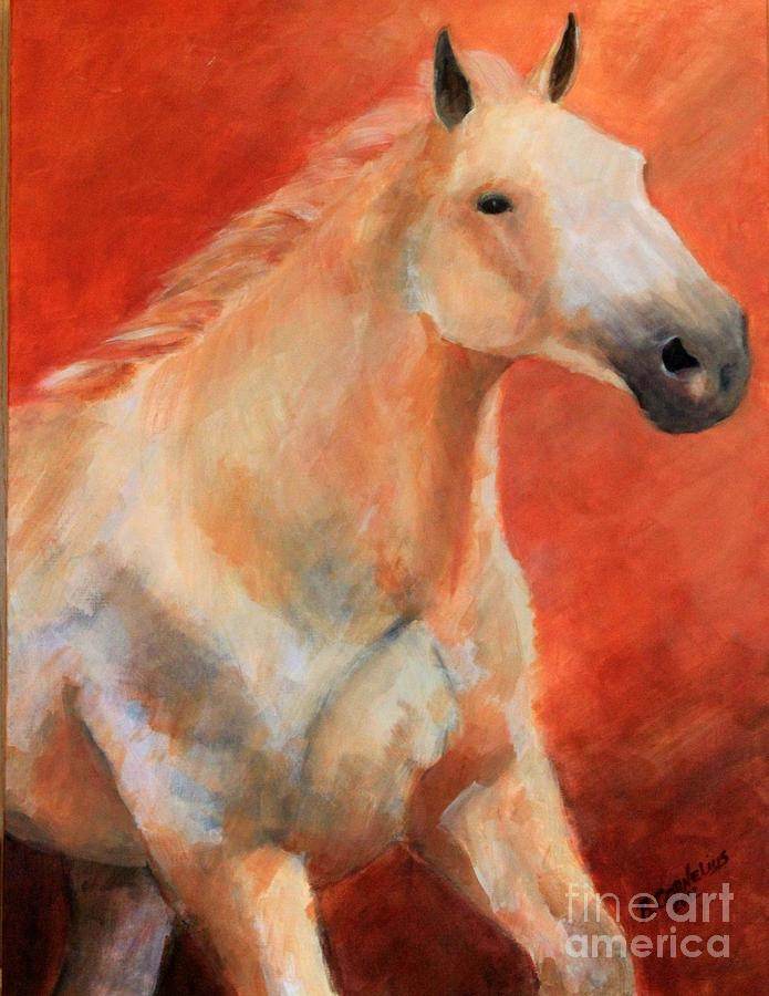 Grey Horse Painting - Motion In Grey by Barbara Cornelius