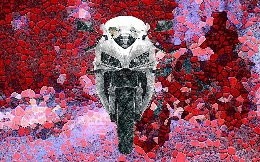 moto art. chopper digital art - moto mosaic by radoslaw kowzan