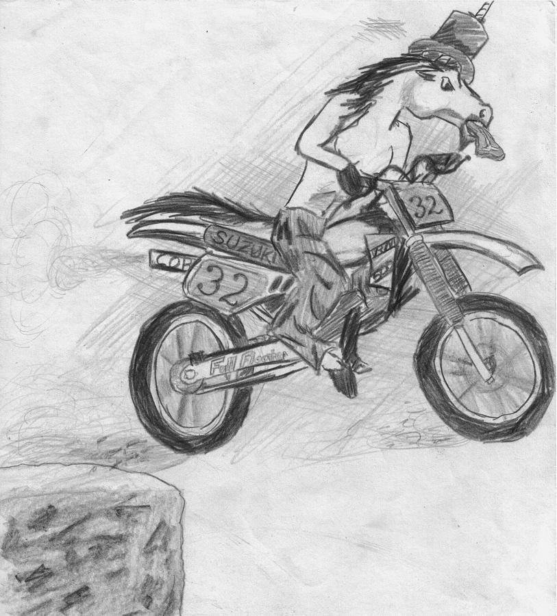 Motocross Unicorn Drawing by Corey Finney