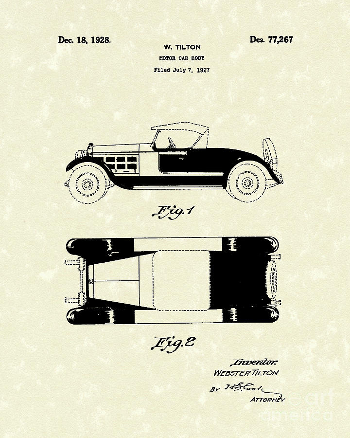 Motor Drawing - Motor Car Tilton 1928 Patent Art by Prior Art Design