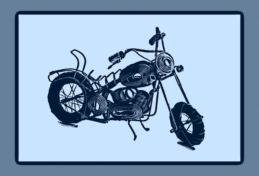 Framed Pyrography - Motorbike 1a by Mauro Celotti