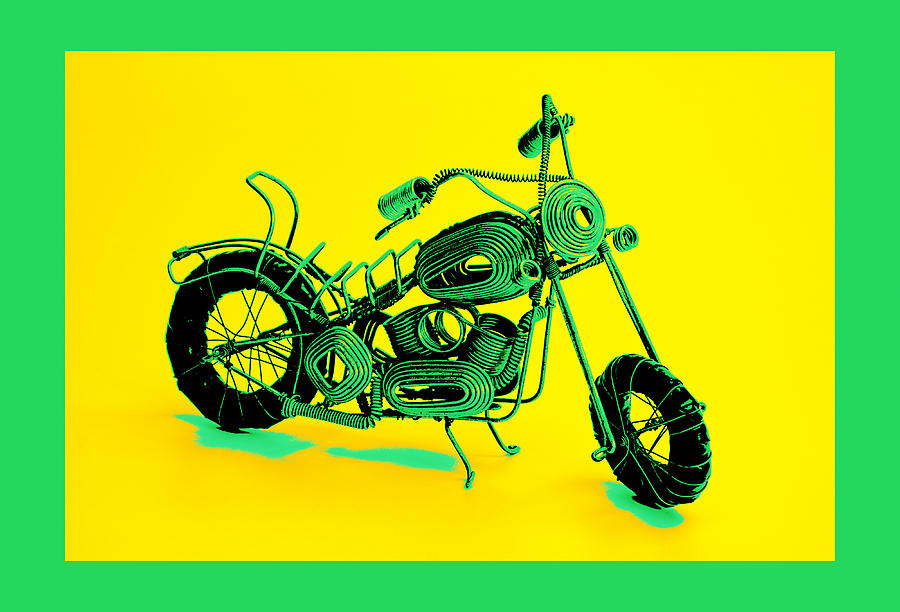 Framed Pyrography - Motorbike 1b by Mauro Celotti