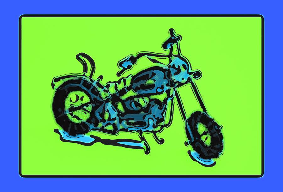 Framed Pyrography - Motorbike 1c by Mauro Celotti
