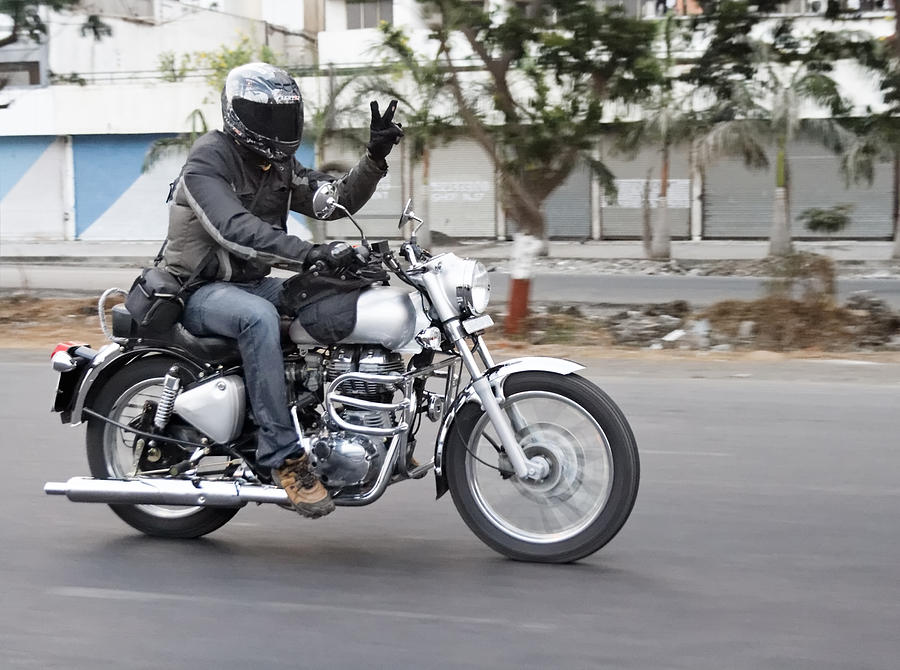 Interesting Photograph - Motorbiker Peace by Kantilal Patel