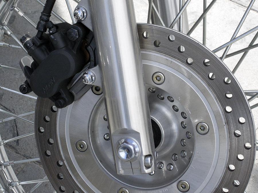 Disc Brake Photograph - Motorcycle Disc Brake by Tony Craddock