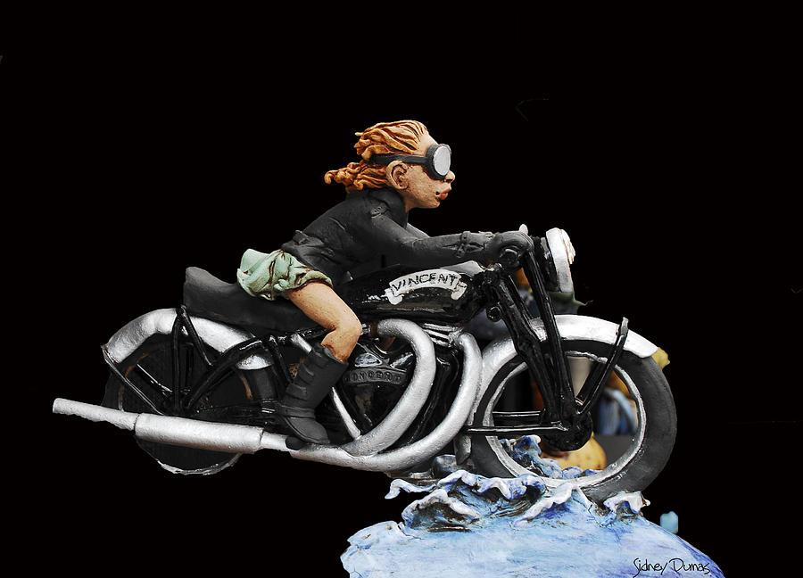 Motorcycle Girl Sculpture - Motorcycle Girl by Sidney Dumas