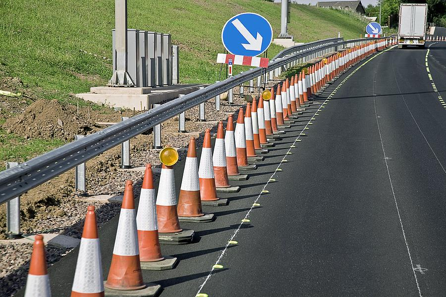Equipment Photograph - Motorway Traffic Cones by Linda Wright