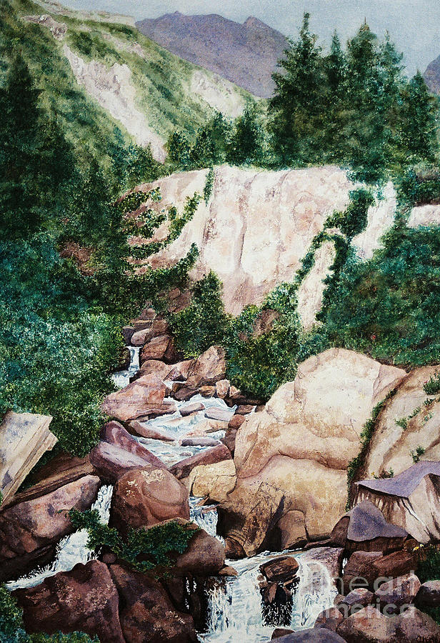 Waterfall Painting - Mounrain Creek Falls by Vikki Wicks