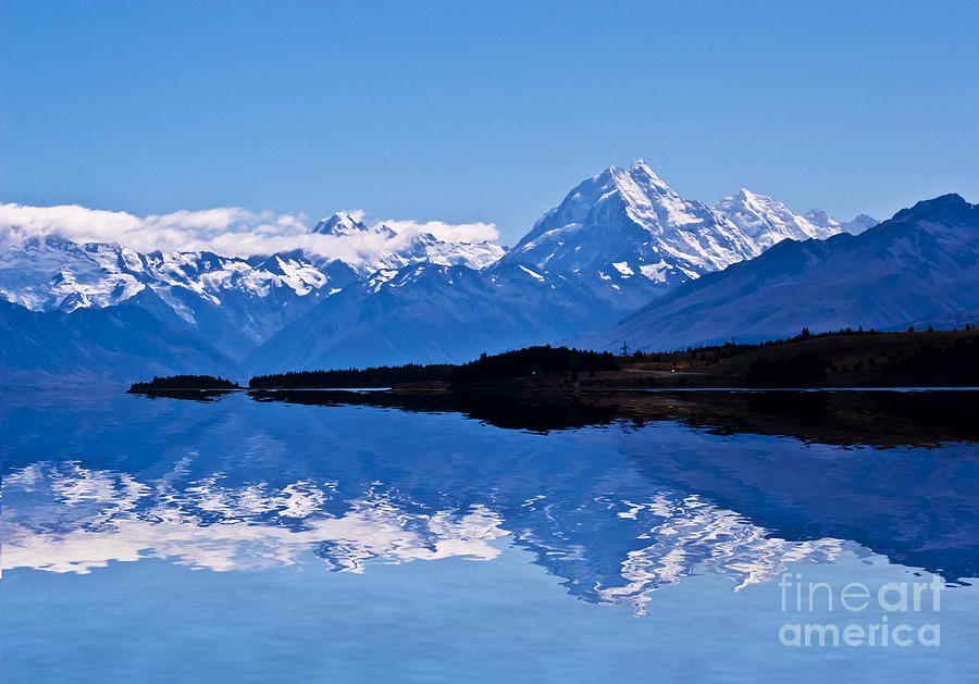 Mount Cook Photograph - Mount Cook With Reflection by Avalon Fine Art Photography