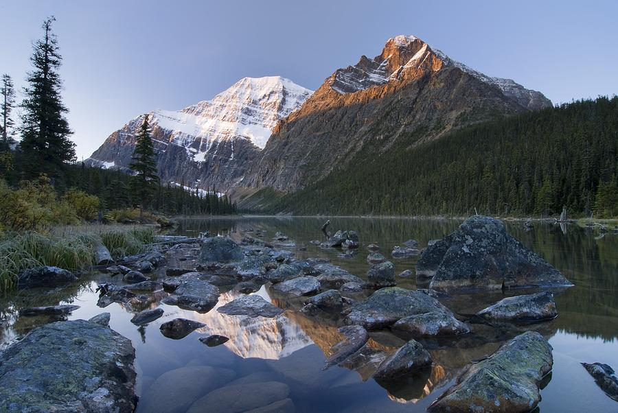 Alberta Photograph - Mount Edith Cavell, Cavell Lake, Jasper by Philippe Widling
