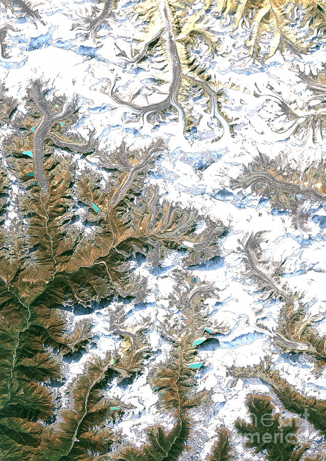 Satellite Image Photograph - Mount Everest  by Planet Observer and Photo Researchers