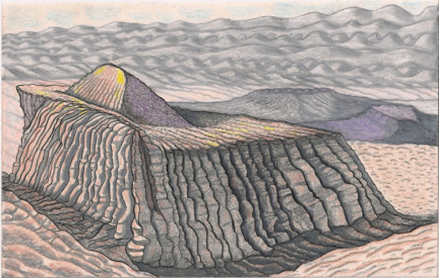 Plateau Drawing - Mount Methaluna and the Hogarth Plateau On The Plains Of Bumpo by Al Goldfarb