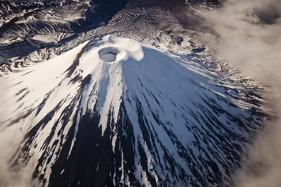 Aerial View Photograph - Mount Ngauruhoe Tongariro Np New Zealand by Colin Monteath