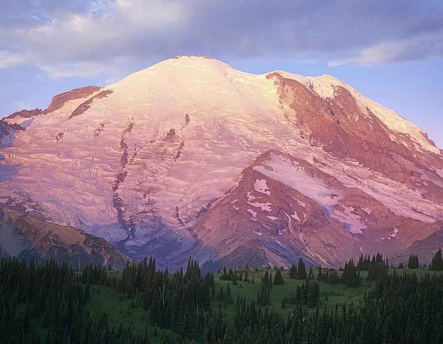 Color Image Photograph - Mount Rainier At Sunrise Mount Rainier by Tim Fitzharris