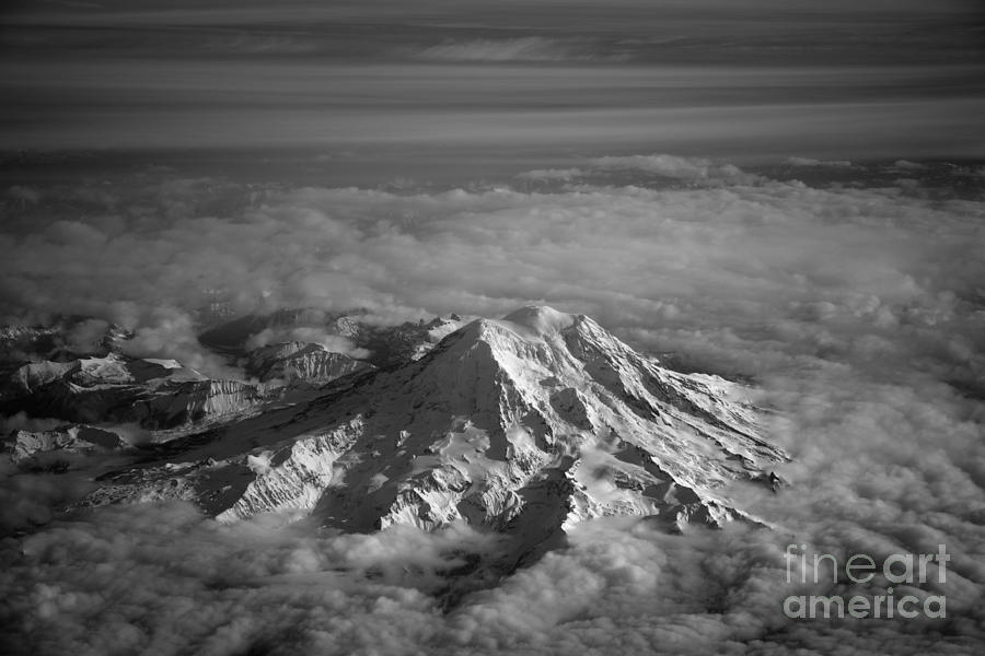 Aerial Photograph - Mount Rainier by Ei Katsumata