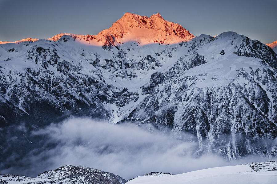 Alpenglow Photograph - Mount Rolleston In The Dawn Light by Colin Monteath