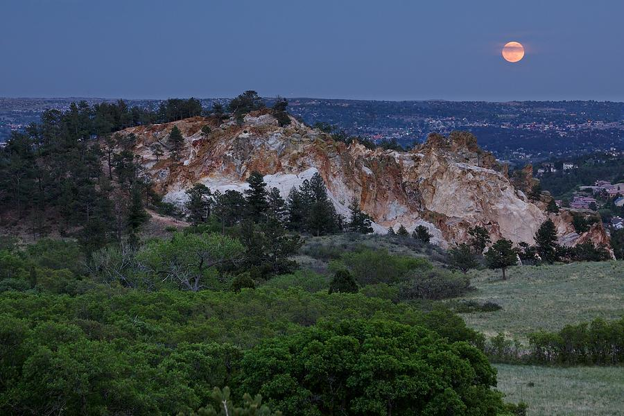 Moon Photograph - Mount Saint Francis And The Super Moon by Andrew Serff