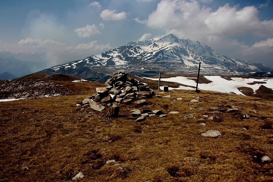 Pyrenees Mountain Hiking Blue White Fields Rock Spring Cairns  Photograph - Mount St Barthelemy by Frederic Vigne