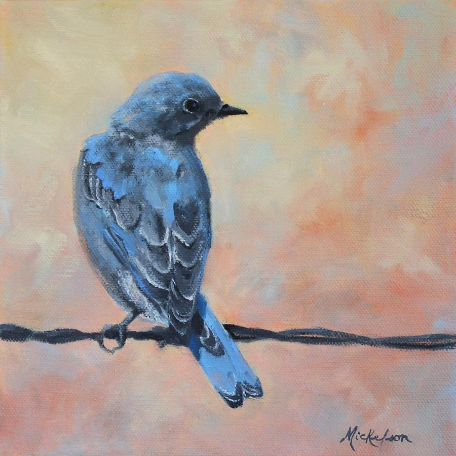 Bluebird Painting - Mountain Bluebird by Debra Mickelson