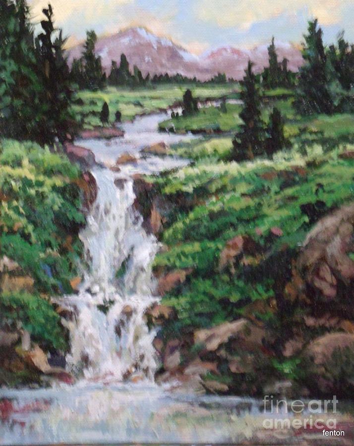 Landscape Painting - Mountain Cascade by W  Scott Fenton
