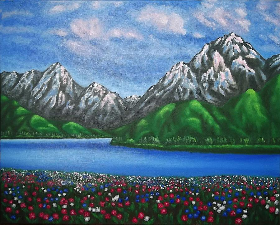 Mountain Landscape Painting - Mountain Landscape Paintings View Of Alps by  Luigi Carlo - Mountain Landscape Paintings View Of Alps Painting By Luigi Carlo