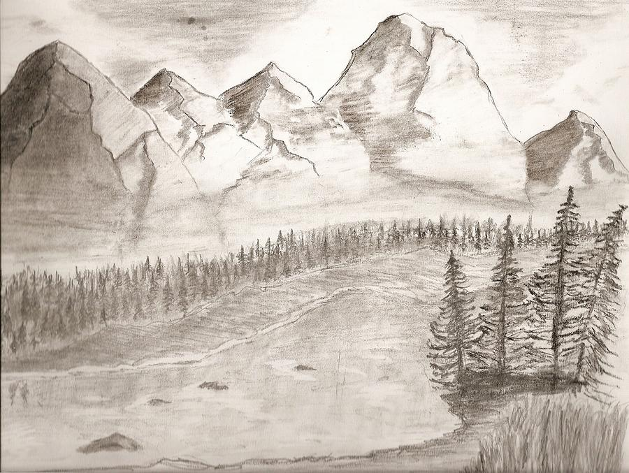 Mountain landscape drawing by salomi prakash for What is landscape drawing
