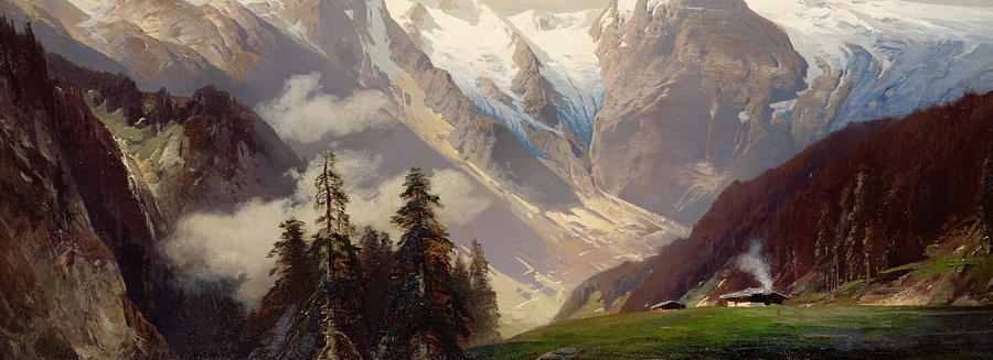 Nicolai Painting - Mountain Landscape With The Grossglockner by Nicolai Astudin