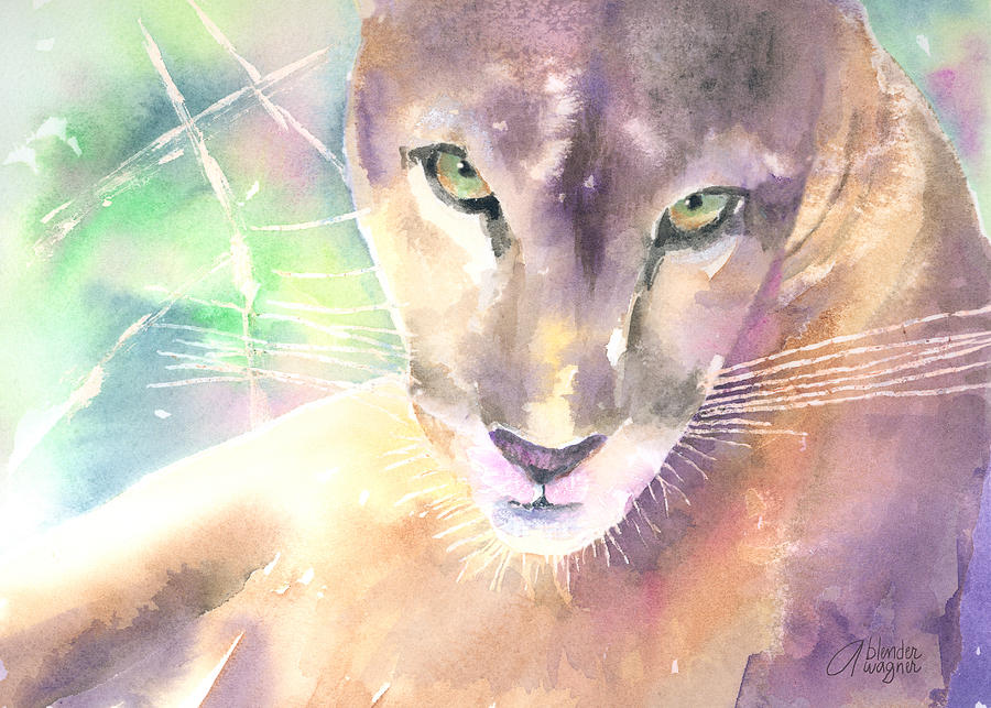 Mountian Lion Painting - Mountain Lion by Arline Wagner