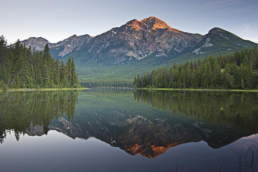 Beauty In Nature Photograph - Mountain Reflection, Pyramid Mountain by Robert Brown