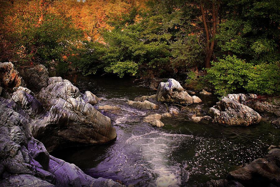 Landscape Photograph - Mountain River With Rocks by Radoslav Nedelchev