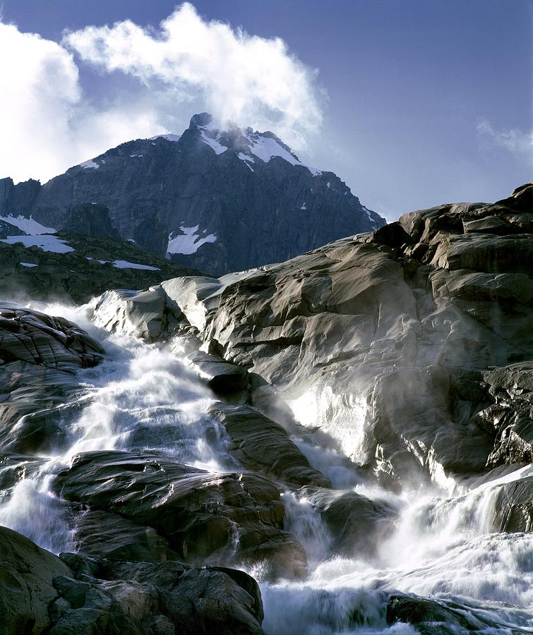 Stream Photograph - Mountain Stream, Swiss Alps by Martin Bond