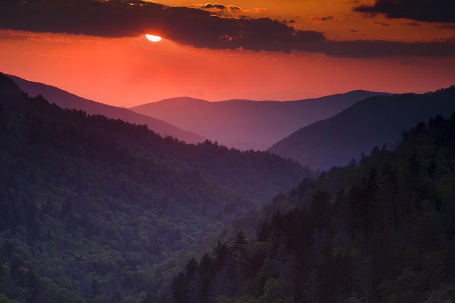Smokies Photograph - Mountain Sunset by Andrew Soundarajan