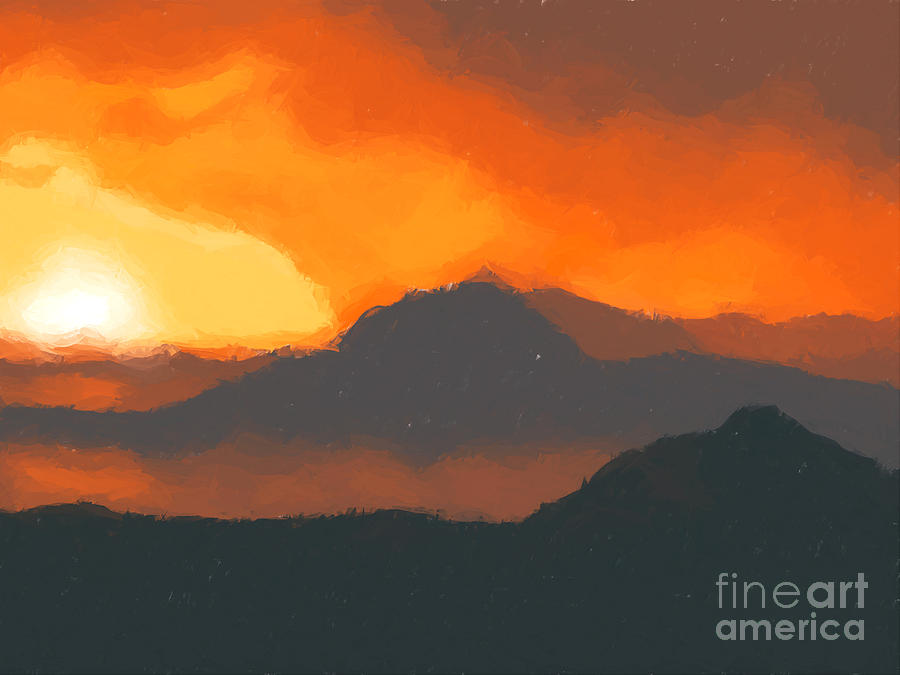 Mountain Painting - Mountain Sunset by Pixel  Chimp