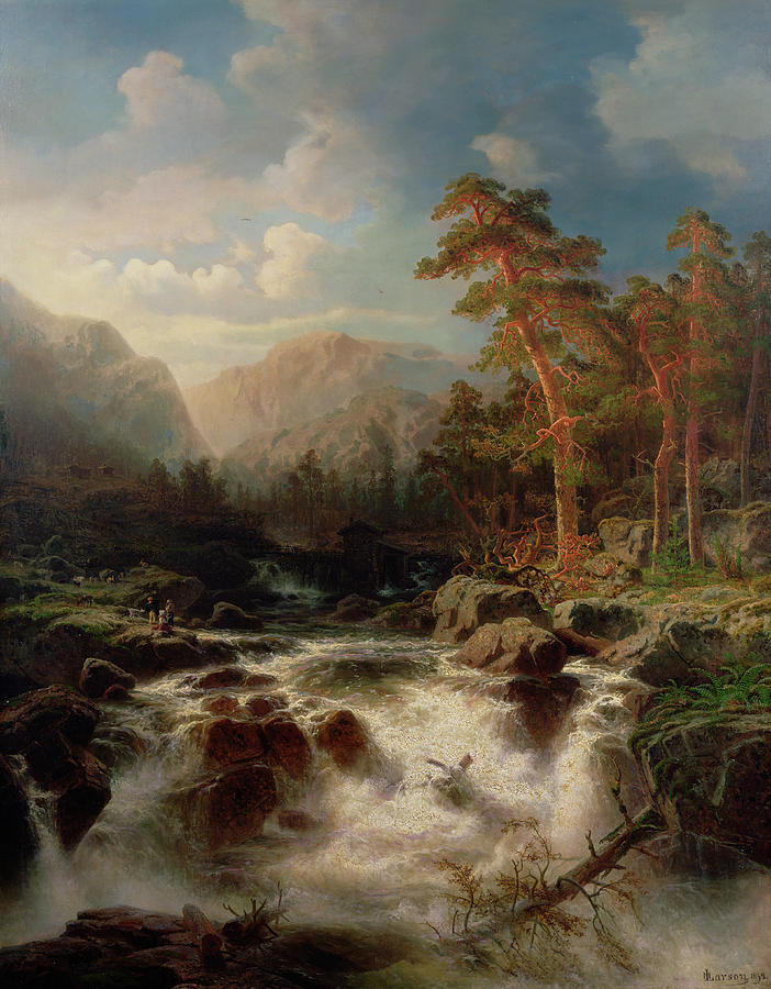 Mountain Torrent Painting - Mountain Torrent Smaland by Marcus Larson