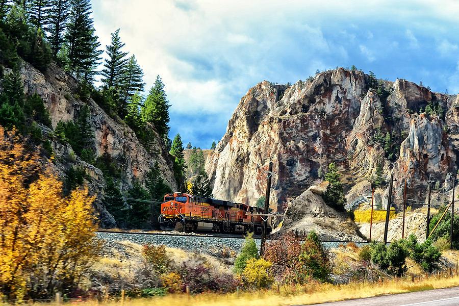 Montana Photograph - Mountain Train by Kelly Reber